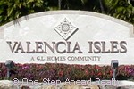 sign at entrance to the Valencia Isles community located in Boynton Beach, FL